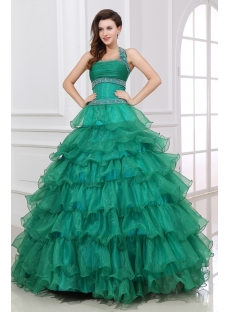 Hunter Green Layers Puffy Quinceanera Dresses 2013