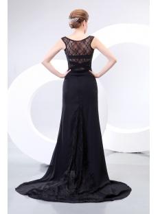 Illusion Back Sexy Long Black Prom Dresses
