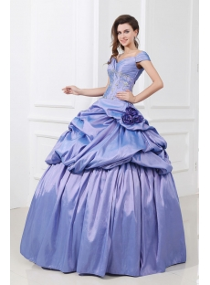 Lavender Floor Length Off Shoulder Beaded Taffeta 15 Quinceanera Dress