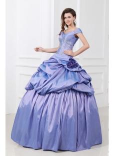 Lavender Floor Length Off Shoulder Beaded Taffeta 15 Quinceanera Dress
