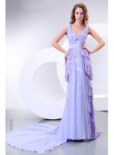 Lavender V-neckline Column Long Mother of Groom Dress