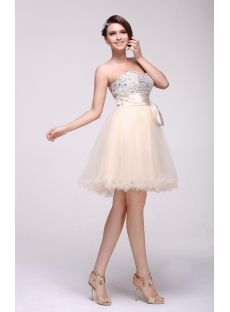 Lovely Jeweled Champagne Sweet 16 Party Dress
