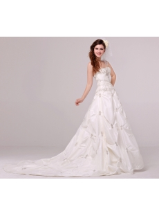 Luxurious Embroidery Pick up Taffeta Wedding Dress 2014 with Corset