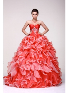 Luxury Colorful Sweetheart Ruffled 2014 Quince Gown Dress with Corset