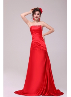 Modern Red A-line Strapless Formal Evening Dress