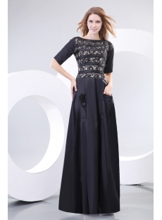 Modest Black Short Sleeves Prom Dress with Pocket