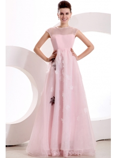 Modest Cap Sleeves Pink Organza Long Evening Dress