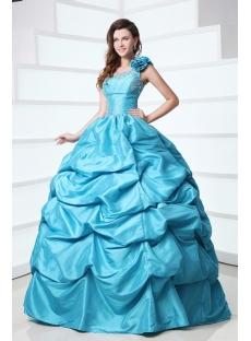 Modest One Shoulder Blue Best Quinceanera Dress