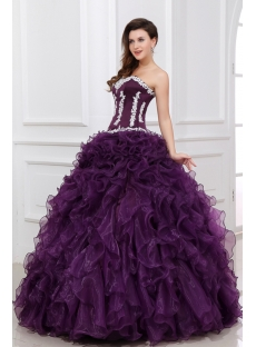 New Style Dark Purple Ruffled 2014 Quinceanera Dress