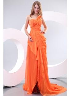 Orange Ladies Long Formal Evening Dress with One Shoulder