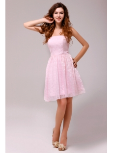 Popular Strapless Pink Lace Short Bridesmaid Dress