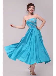Popular Turquoise Tea Length Homecoming Dress