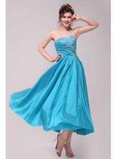 Turquoise Tea Length Cocktail Dress