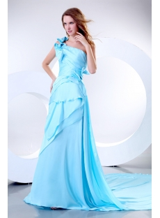 Pretty Blue One Shoulder A-line Evening Dress with Train