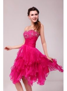 Pretty Hot Pink Knee Length Junior Club Party Dress