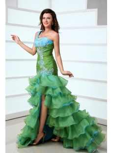 Pretty One Shoulder Colorful Quinceanera Dress with Slit Front
