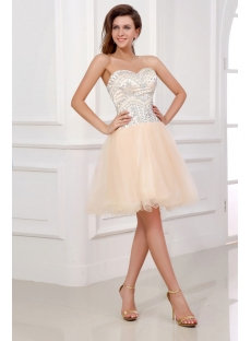 Pretty Puffy Champagne Cocktail Dresses:1st-dress.com