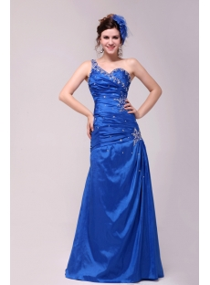 Pretty Royal Blue A-line Floor-length One Shoulder 2014 Prom Dress