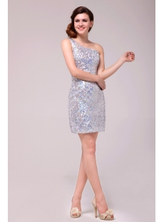 Pretty Silver One Shoulder Sequins Cocktail Dress