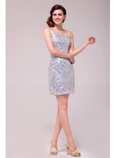Pretty Silver One Shoulder Sequins Cocktail Dress