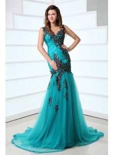 Pretty Teal Blue and Black Celebrity Party Dress with V-back