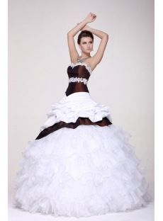 Pretty White and Burgundy Colorful Quince Gown 2014