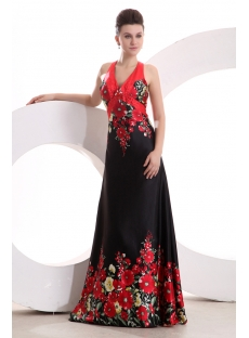 Printed Red Halter Summer Prom Dress