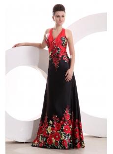 Printed Red Halter Summer Prom Dress