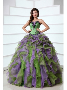 Puffy Ruffled Affordable Green and Purple Colorful Quinceanera Dress Organza Ball Gown