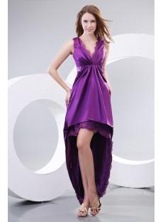 Purple V-neckline Summer Evening Dress with High-low