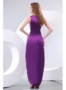 Purple V-neckline Summer Evening Dress with High-low