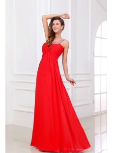 Red Chiffon Long Open Back Celebrity Dress