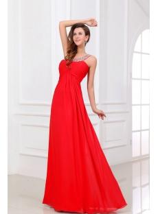 Red Chiffon Long Open Back Celebrity Dress