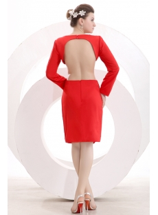 Red Long Sleeves Open Back Short Evening Dress