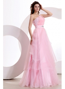 Romance One Shoulder Pink Cheap Quinceanera Gown Dress
