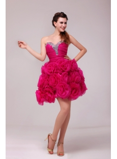 Romantic Hot Pink Short Masquerade Party Dress