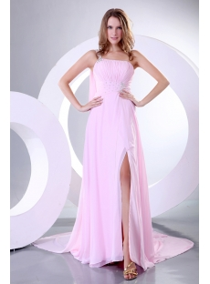 Romantic One Shoulder Pink Beaded Evening Dress Celebrity Dress