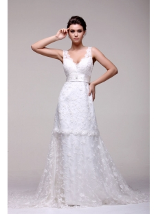 Romantic V-neckline Lace Bridal Gown with Train