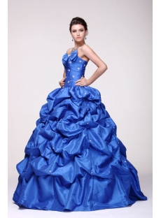 Royal Blue Puffy Pick up 2014 Quinceanera Dress