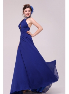 Sexy Royal Blue Halter Evening Dress 2014