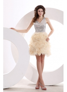 Short Silver Sequins Short Cocktail Dress with Illusion Back