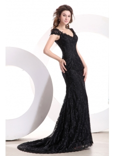Short Sleeves Modest Black Lace Formal Evening Dress with Train