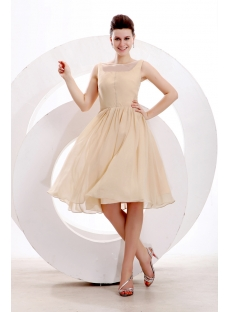 Simple Champagne Short Prom Dress for Junior