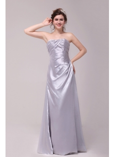 Simple Silver Taffeta A-line Prom Dress 2012