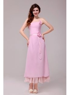 Simple Strapless Chiffon Pink Ankle Length Bridesmaid Dress