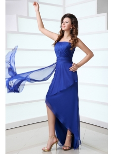 Special Asymmetric Royal Blue Graduation Dress
