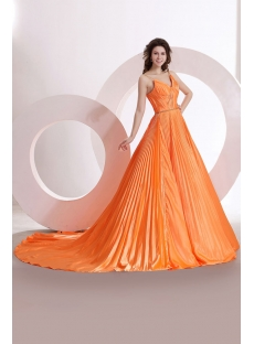 Straps Orange Pleats Formal Evening Dress with Train