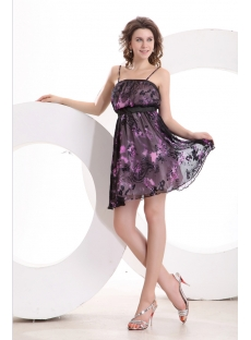 Straps Short Printed Summer Homecoming Dress