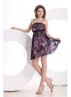 Straps Short Printed Summer Homecoming Dress