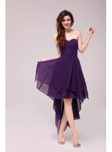 Stunning Purple High-low Prom Dress with Irregular Skirt